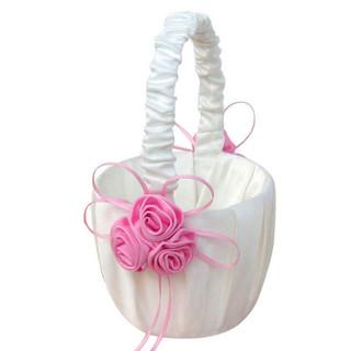 Satin Flower Girl Basket with Pink Rose