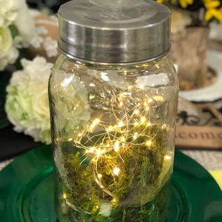 XL Mason Jar with Moss & Fairy Lights