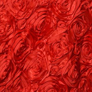 "72"" Grandiose 3D Rosette Satin Overlay Red"