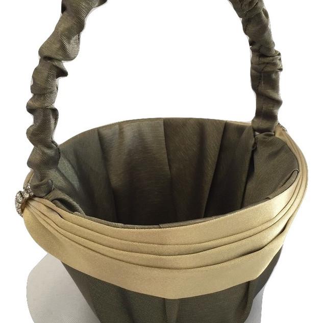 Willow Green Satin Flower Girl Basket