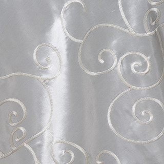 "72"" Taffeta Swirls Embroidered Overlay Ivory"