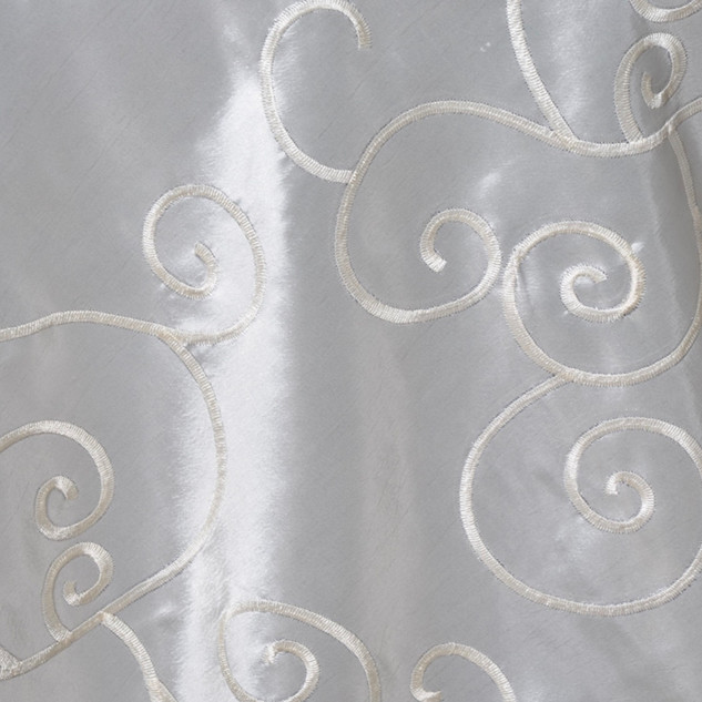 "72"" Taffeta Swirls Embroidered Overlay Ivory"