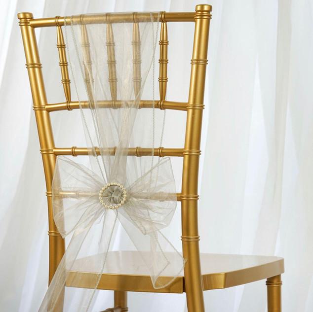 Organza Chair Sash Silver