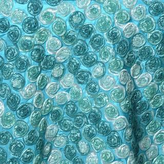 """72"""" Triple-Tone Mini Rosettes Turquoise Umbre"""