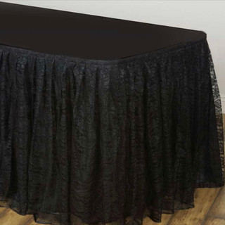 Polyester Lace Table Skirt Black 17'
