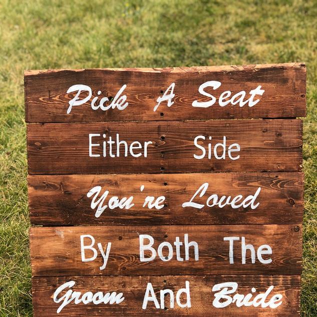 """Pick A Seat"" Sign"