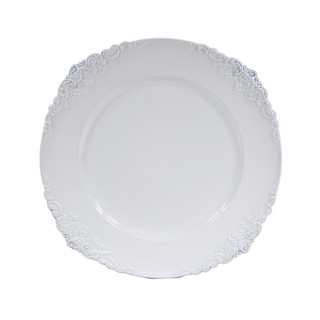 """Flower Stud Acrylic White Charger Plate 13"""""""