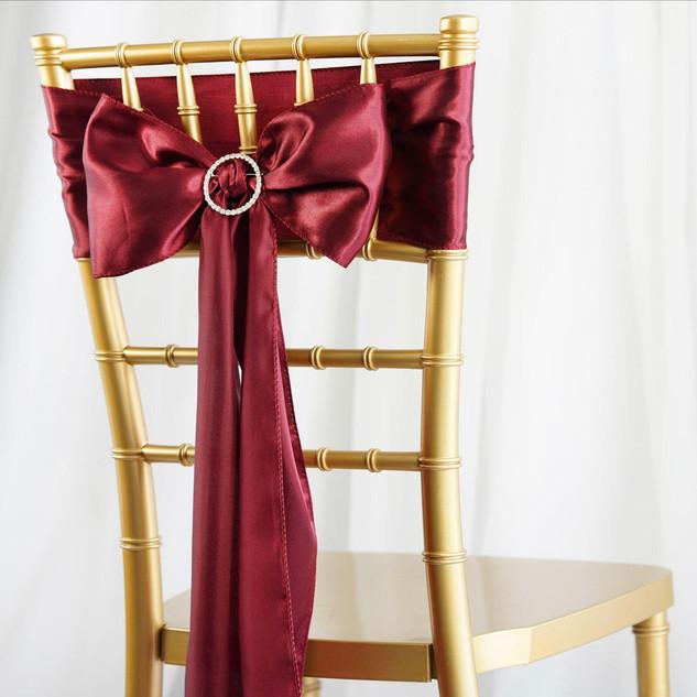 Satin Chair Sash Burgundy