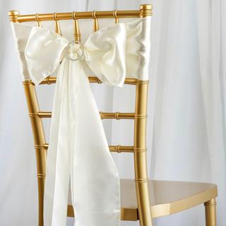 Satin Chair Sash Ivory