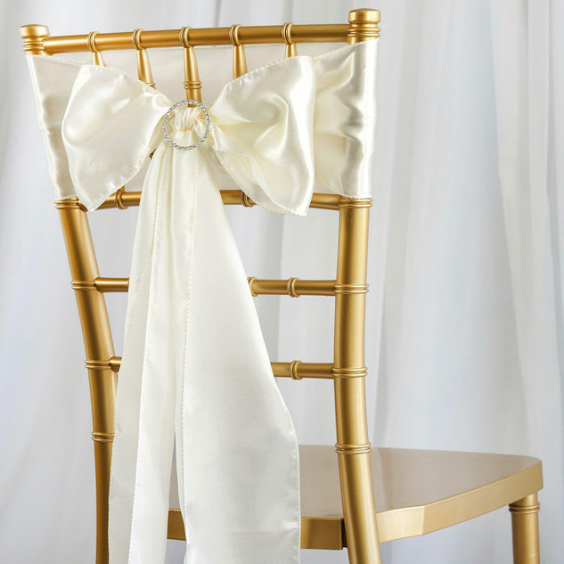 Satin Chair Sash Ivory