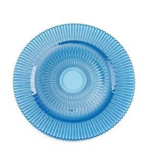 "Blue Sunburst Glass Charger Plate 13"""
