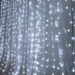 20x10 600 LED Organza Curtain Backdrop with Lights Bright White