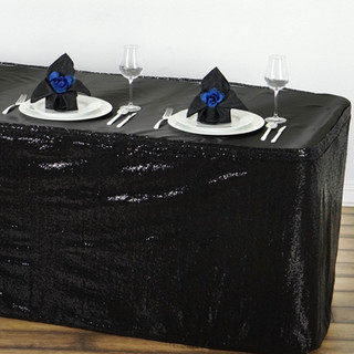 Glitzy Sequin Table Skirt Black 17'