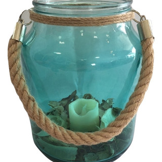 Rustic Teal Glass Jar with Candle & Jute