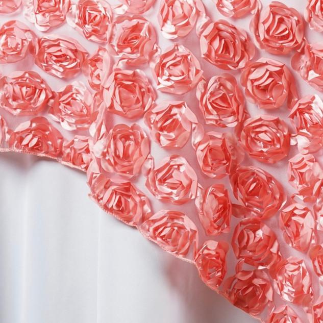 """72"""" 3D Rosette on Lace Overlay Rose Quartz"""
