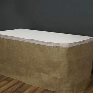 Rustic Jute Table Skirt Natural Burlap 17'