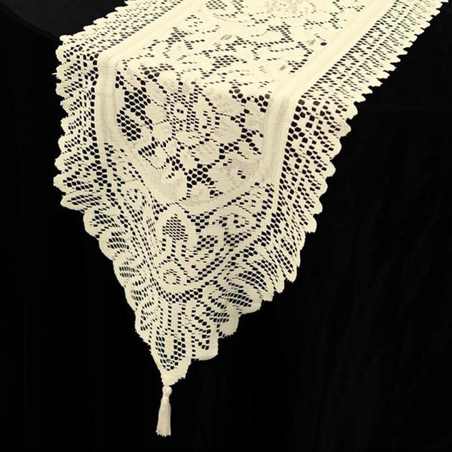 Flower Design Lace Runner Ivory