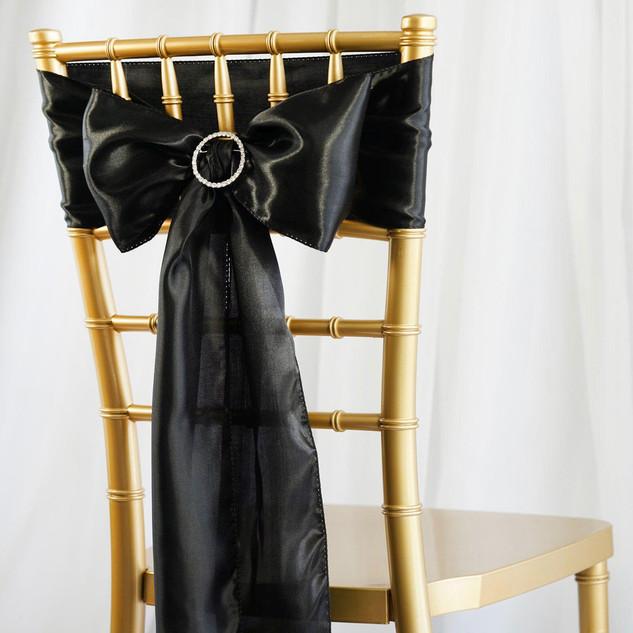 Satin Chair Sash Black