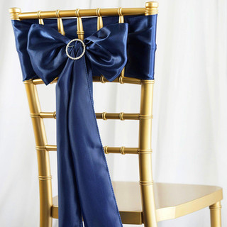 Satin Chair Sash Navy