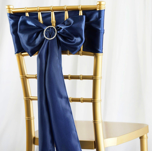 Satin Chair Sash Navy