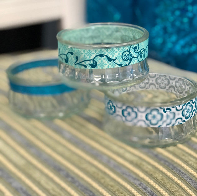 Clear Glass Vintage Open Face Jars with Turquoise Ribbon