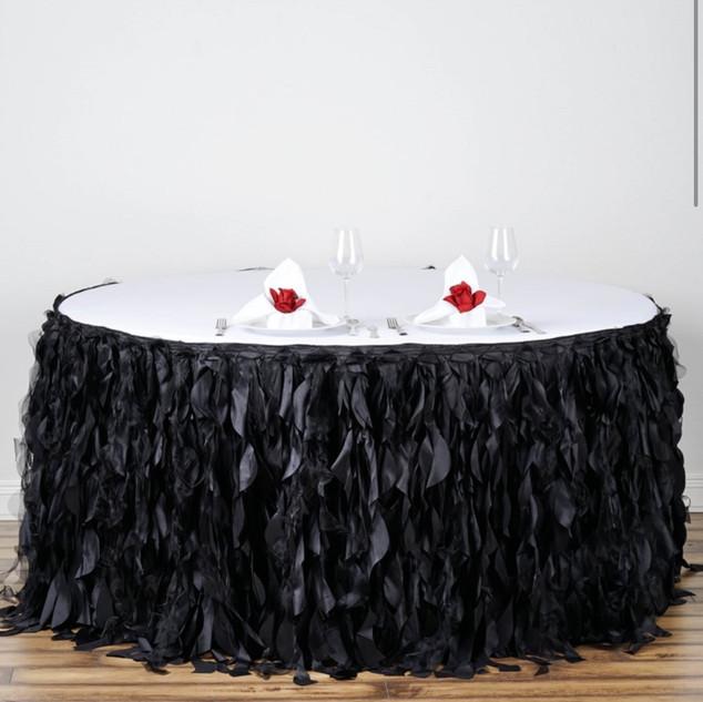 Enchanting Willow Taffeta Table Skirt Black 17' or 21'