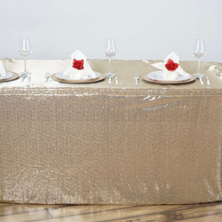 Glitzy Sequin Table Skirt Champagne 17'