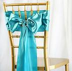 Satin Chair Sash Turquoise