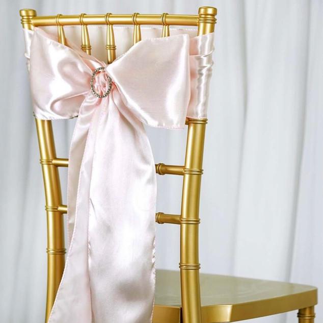 Satin Chair Sash Pale Blush