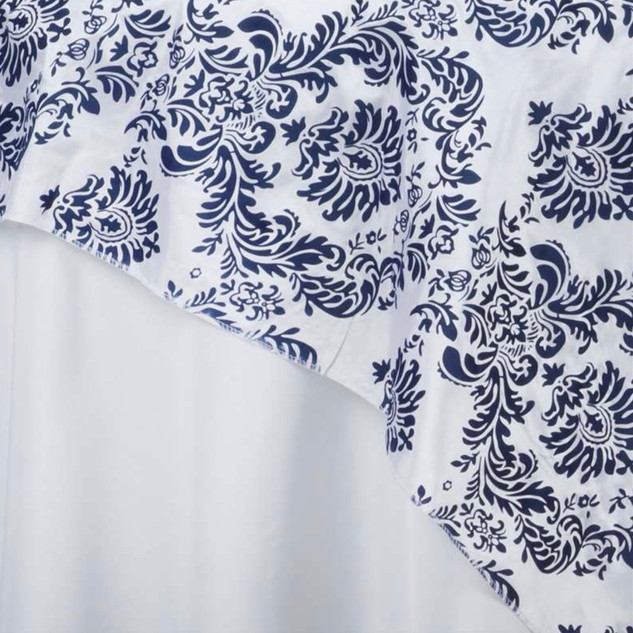 "72"" Damask Taffeta Overlay Flocking White / Navy"