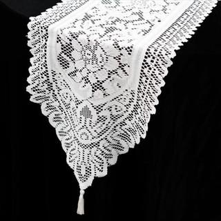 Flower Design Lace Runner White