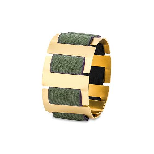 SOFT SPINE BRACELET - GOLD & OLIVE GREEN NEOPRENE FABRIC