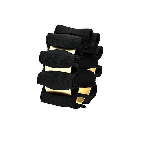 WAVY BRACELET - GOLD & BLACK NEOPRENE FABRIC