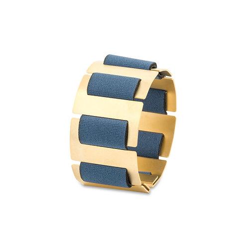 SOFT SPINE BRACELET - GOLD & BLUE NEOPRENE FABRIC