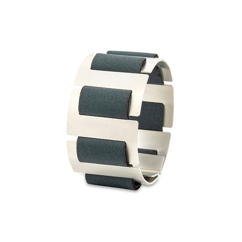 SOFT SPINE BRACELET - SILVER TONE & DARK GRAY NEOPRENE FABRIC