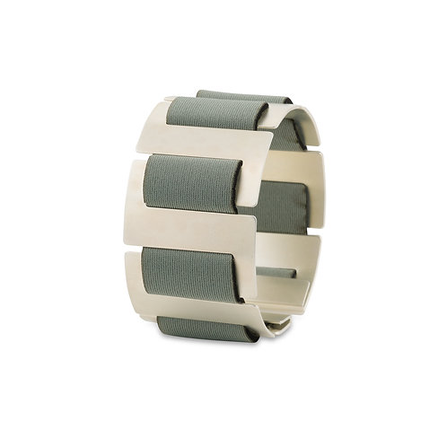 SOFT SPINE BRACELET - SILVER TONE & LIGHT GRAY NEOPRENE FABRIC