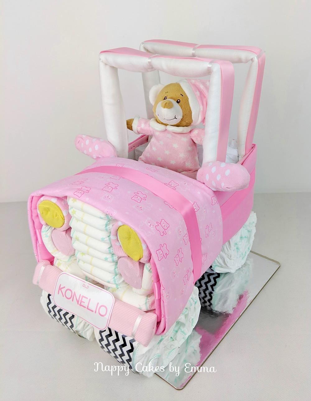 Baby girl nappy jeep - nappy cakes brisbane