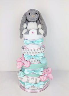 Four Tier Mint and Pink Bunny Nappy Cake