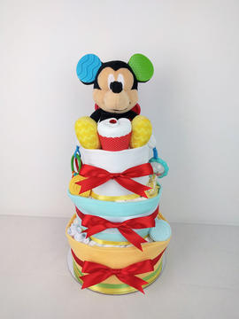 Neutral Mickey Mouse Nappy Cake - Plush Toy Unavailable