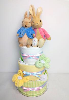 Neutral Peter Rabbit & Flopsy Bunny Nappy Cake