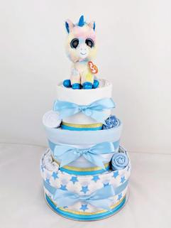 Baby Boy Blue Unicorn Nappy Cake