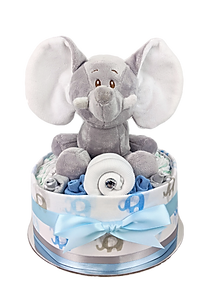 Baby Boy One Tier Blue Elephant Nappy Cake - Nappy Cake Hamper Online Baby Gifts