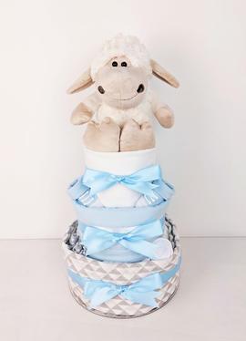 Blue and Grey Baby Lamb Nappy Cake