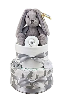 Neutral Unisex Baby Grey Bunny Nappy Cake - Online Baby Gifts Delivered Melbourne