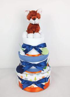 Baby Boy Fox Woodland Nappy Cake