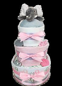 Baby Girl Pink Elephant Nappy Cake - Baby Nappy Cakes Melbourne