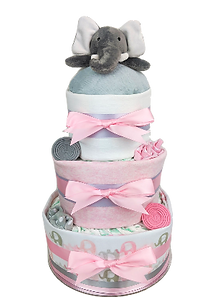 Baby Girl Pink Elephant Nappy Cake - Baby Shower Gifts Melbourne Delivered