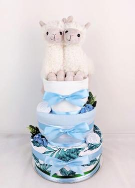 Twin Baby Boy Llama Nappy Cake