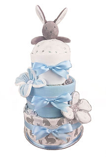 Baby Boy Bunny Comforter Nappy Cake - Unique baby gifts Melbourne