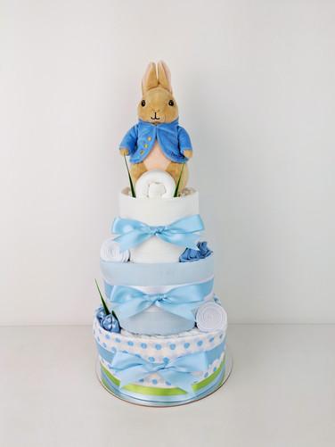 Baby Boy Peter Rabbit Nappy Cake - Newborn Baby Gift Hamper